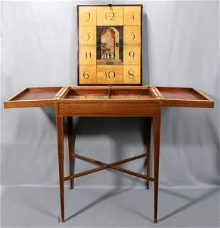 GEORGE III PARTRIDGE WOOD FLIP TOP GAMES TABLE,