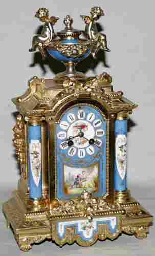 FRENCH SEVRES PORCELAIN MANTLE CLOCK WITH GILT M