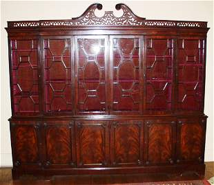 CHIPPENDALE STYLE MAHOGANY 2 SECTION BREAKFRONT,