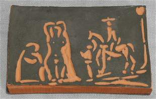 PABLO PICASSO, TERRA COTTA TILE OF MAN ON HORSE