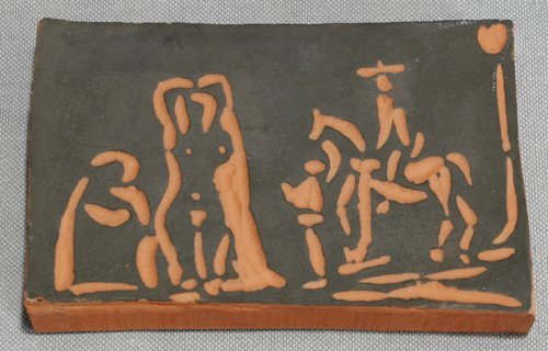 22013: PABLO PICASSO, TERRA COTTA TILE OF MAN ON HORSE