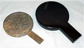 JAPANESE SILVER HAND MIRRORS IN LACQUERED CASE,