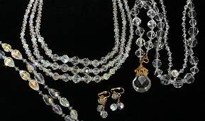 22483: COSTUME JEWELRY LOT, 2 CRYSTAL NECKLACES, 2 BRAC