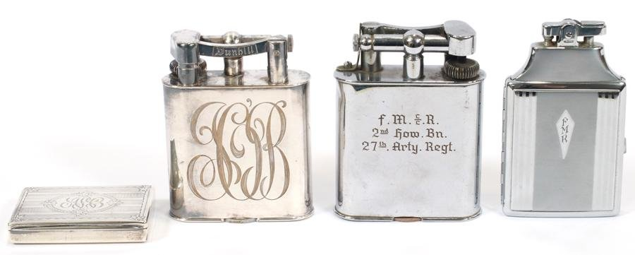DUNHILL & RONSON LIGHTERS AND GORHAM STERLING CASE