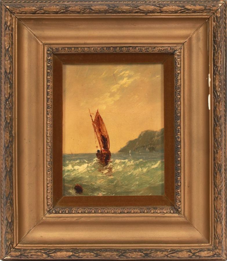 "OIL ON CANVAS, C. 1910 H 7"", L 5"", SAILBOAT"