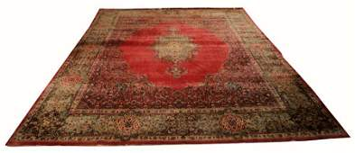 PERSIAN KERMAN HANDWOVEN WOOL RUG C 1940