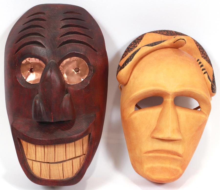 CHEROKEE (VIRGIL CROW) AND IROQUOIS CARVED MASKS