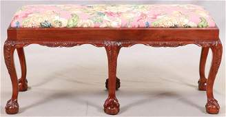 CHIPPENDALE STYLE MAHOGANY BENCH