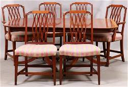 DOUBLE PEDESTAL MAHOGANY DINING TABLE + 6 CHAIRS