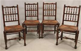 ENGLISH QUEEN ANNE STYLE FOUR OAK SIDE CHAIRS