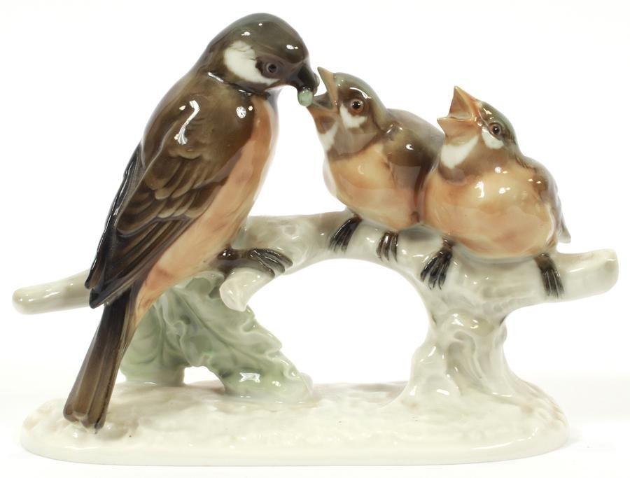 "HUTSCHENREUTHER, GERMANY PORCELAIN BIRDS L 7"""