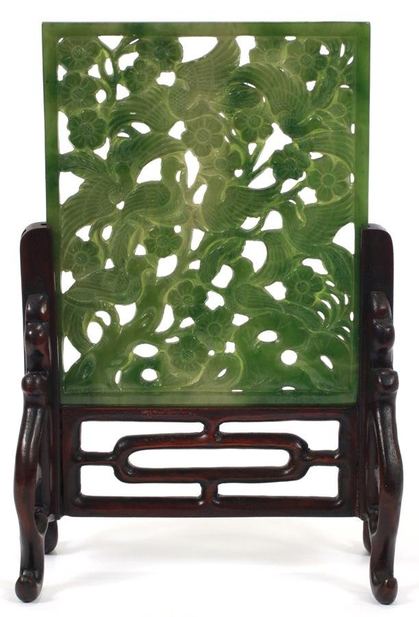 """CHINESE CARVED JADE TABLE SCREEN H 5.5"""" W 4"""""""
