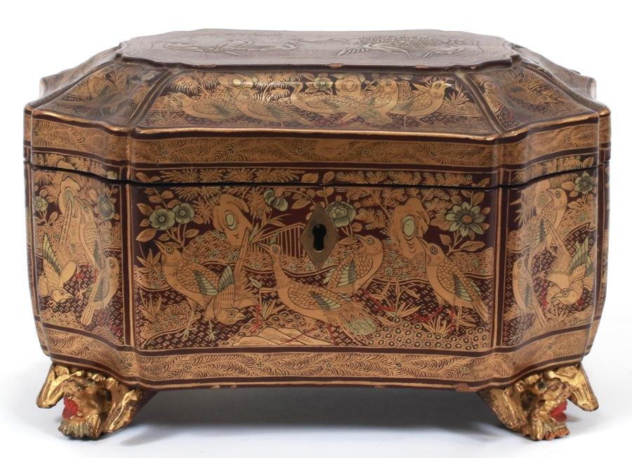 "ORIENTAL LACQUERED TEA CADDY, 19TH C, H 5"", W 8"""