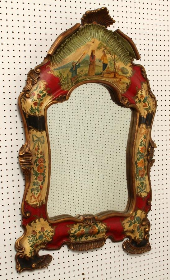 FLORENTINE STYLE HAND-PAINTED WALL MIRROR