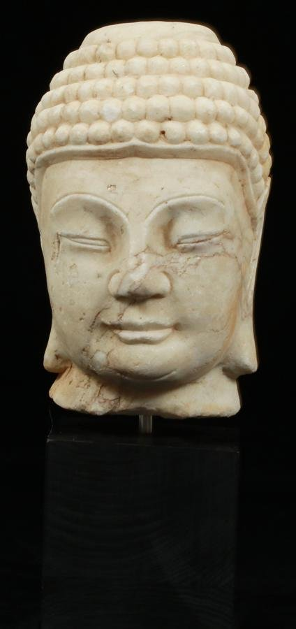 """ASIAN CARVED MARBLE BUDDHA HEAD C. 1900 H 11"""""""