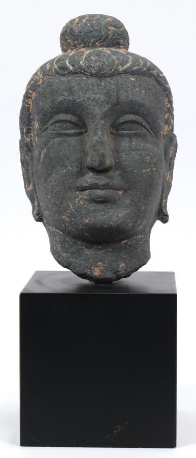 """CARVED BASALT BUDDHA HEAD, C. 1900, H 11"""", W 7"""""""