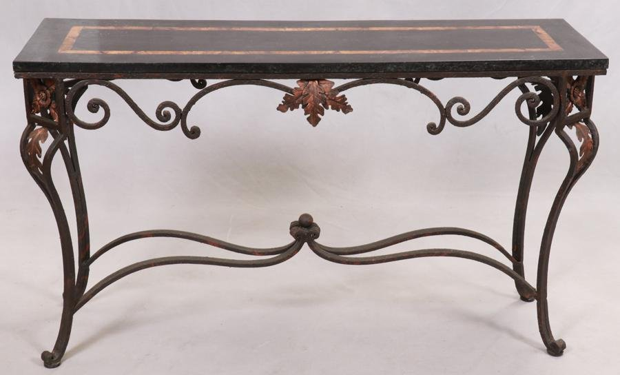MARBLE TOP, WROUGHT IRON BASE CONSOLE - SIDE TABLE