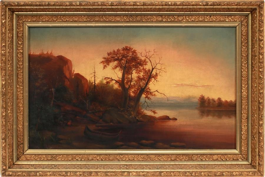 OIL ON CANVAS, 19TH.C. EARLY AMERICAN LANDSCAPE