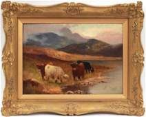 CHARLES W. OSWALD OIL ON CANVAS, HIGHLAND CATTLE