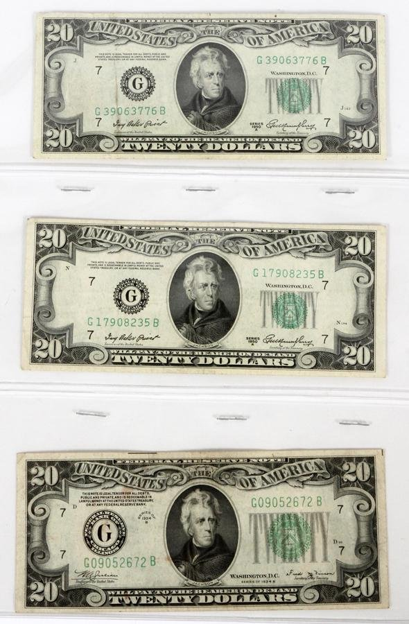 U.S. FED-RESERVE $20.PAPER CURRENCY NOTES