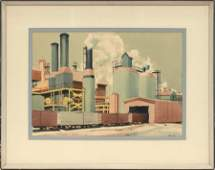 LANG WATERCOLOR ON PAPER 1955 INDUSTRY