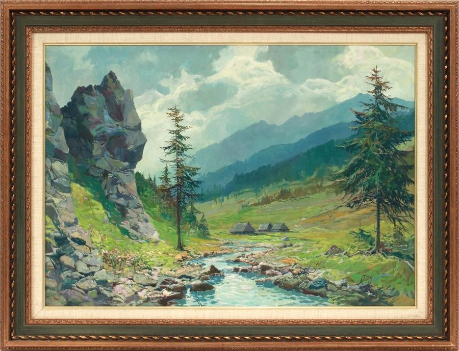 """OIL ON CANVAS, H 17"""", L 23"""", MOUNTAIN CREEK"""
