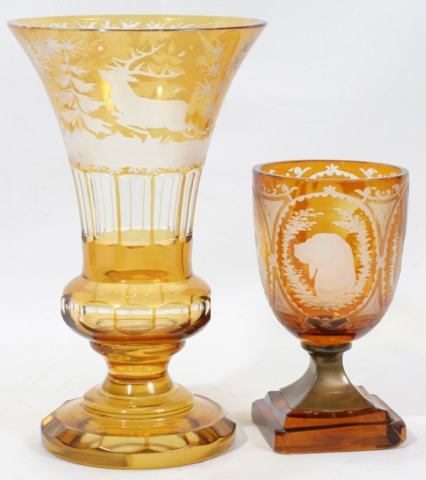 "110019: BOHEMIAN ETCHED AMBER GLASS VASES, H 6"" & 9"""