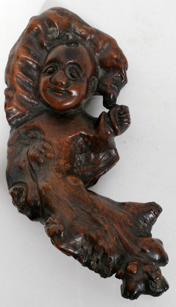 111014: CHINESE FIGURAL ROOT CARVING, L 8""