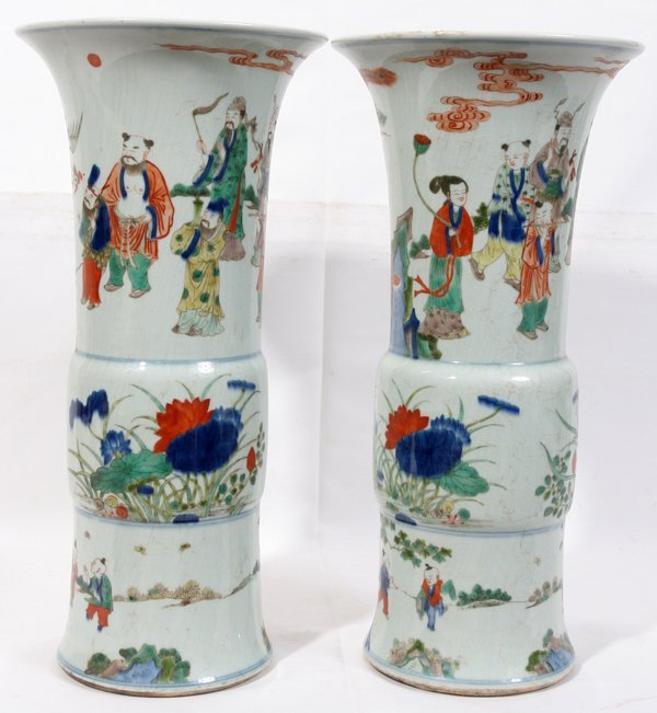 111019: CHINESE PORCELAIN VASES, PAIR, H 17 1/2""