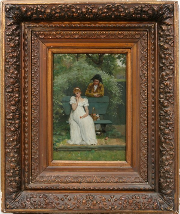 112006: ROWLAND HOLYOAKE OIL ON PANEL COURTING SCENE
