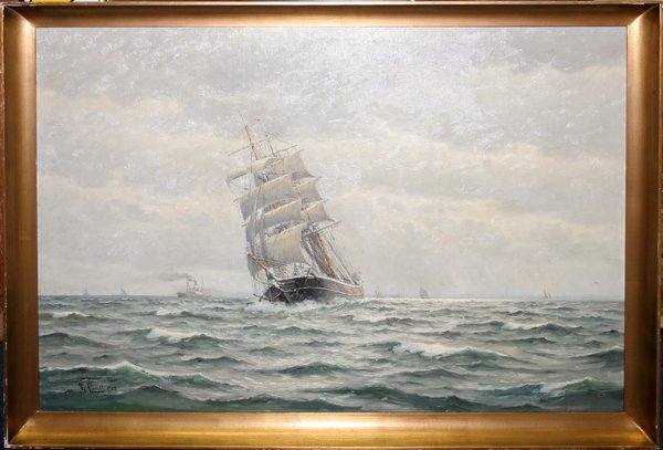 112008: FRANTS LANDT OIL ON CANVAS CLIPPER SHIP