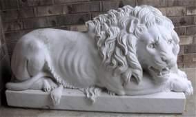 112029 CARVED WHITE MARBLE LION GARDEN SCULPTURES
