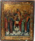 112257 RUSSIAN PAINTED WOOD ICON ASSEMBLY OF MICHAEL
