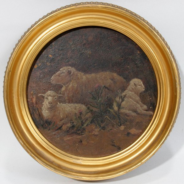 112462: EUROPEAN OIL ON WOOD PANEL 3 RECLINING SHEEP