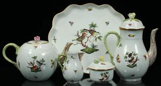 HEREND PORCELAIN ROTHSCHILD BIRD TEA SET