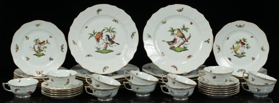 HEREND ROTHSCHILD BIRD DINNER SET FOR 12, 46 PCS.