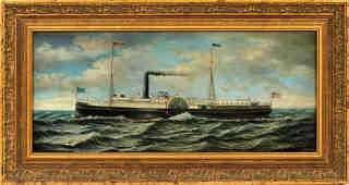 J CLARK OIL ON BOARD AMERICAN RIVERBOAT