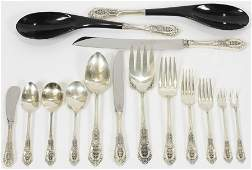 WALLACE 'ROSE POINT' STERLING FLATWARE SERVICE