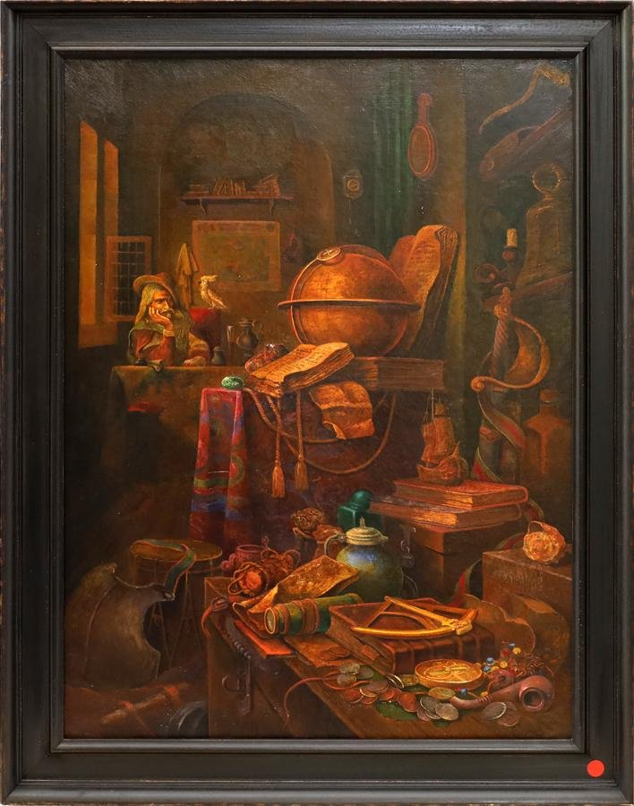 CYRILLIC SIGNED OIL ON CANVAS, MEDIEVAL INTERIOR