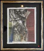 SIGNED MIXED MEDIA COLLAGE, BUTAN MONASTERY