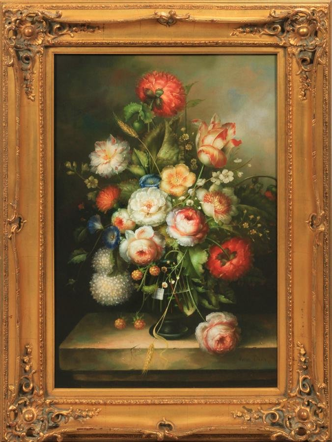 "AARON DAVIS OIL ON CANVAS H 35"" W 23"" STILL LIFE"