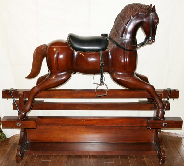 """120004: CARVED WOOD ROCKING HORSE 20TH C H 53"""", W 20"""""""
