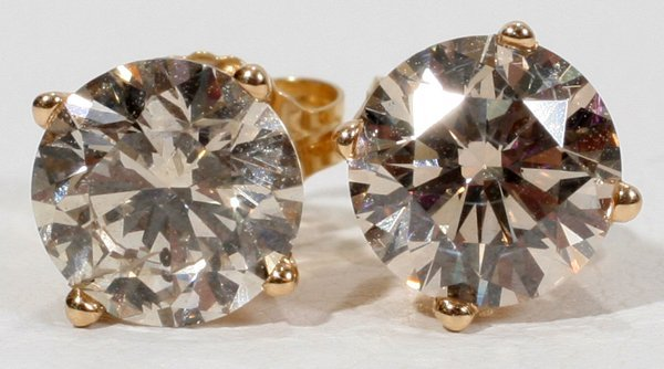 120014: 14KT YELLOW GOLD 2.3CT DIAMOND STUD EARRINGS