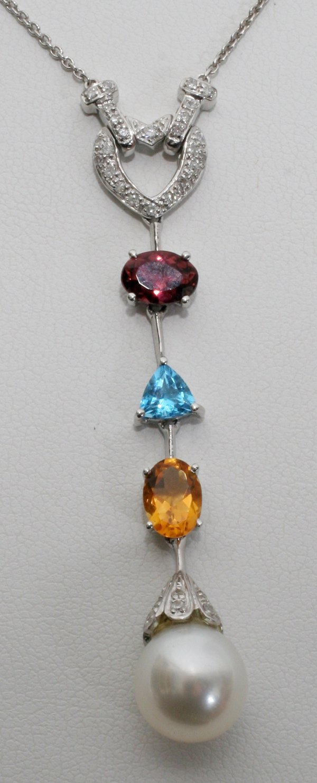 120017: GOLD, DIAMOND, PEARL & GEMSTONE NECKLACE