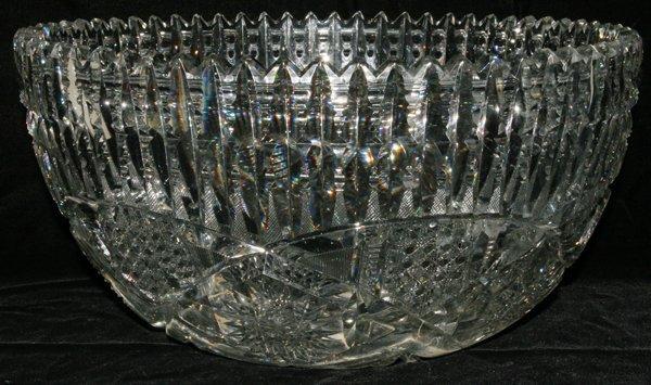 121002: LIBBEY BRILLIANT CUT GLASS PUNCH BOWL C. 1900
