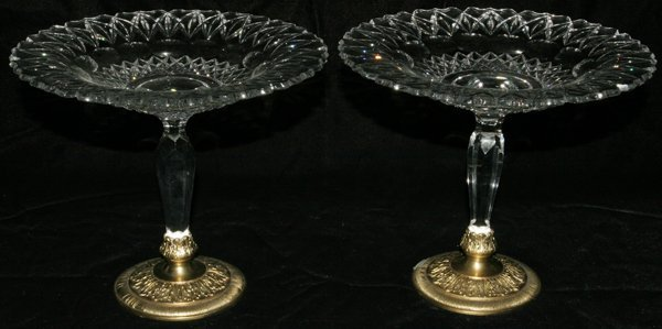 121004: PAIRPOINT CUT GLASS COMPOTES, C. 1920, PAIR