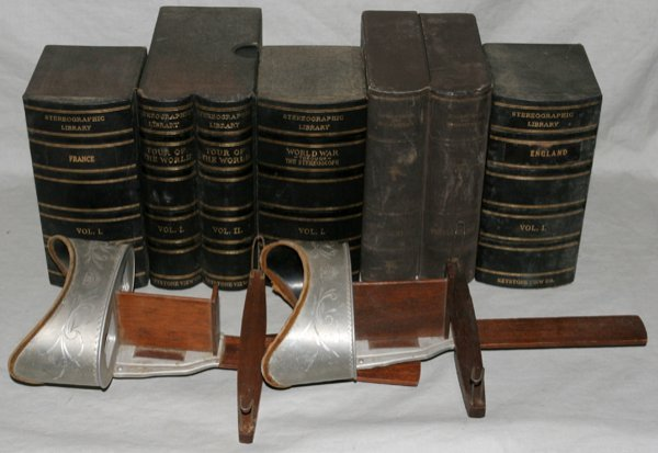 121009: STEREOPTICON VIEWERS, TWO, & 10 VOLUMES