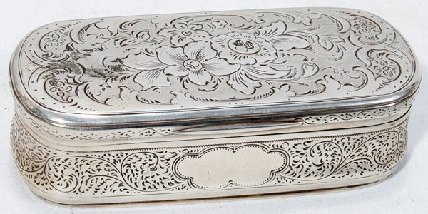 121015: AUSTRIAN HAND-CHASED .812 SILVER SNUFF BOX