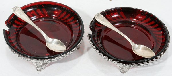 121022: TIFFANY 'AILANTHUS' STERLING & GLASS DISHES