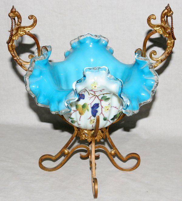 121255: VICTORIAN GILT METAL & BLUE GLASS EPERGNE